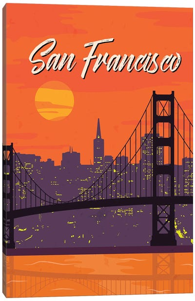 San Francisco Vintage Poster Travel Canvas Art Print