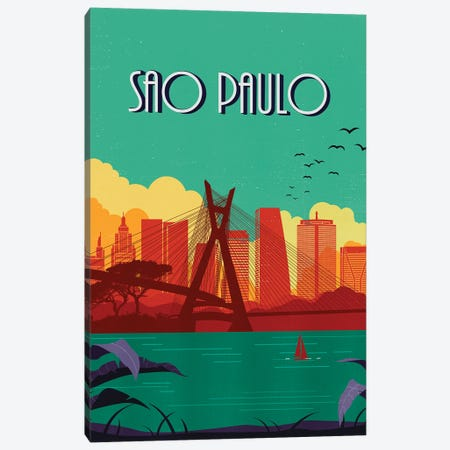 Sao Paulo Vintage Poster Travel Canvas Print #PUR1185} by Paul Rommer Canvas Wall Art