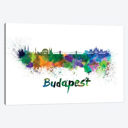 Budapest Skyline In Watercolor 3-Piece Canvas #PUR118} by Paul Rommer Canvas Artwork