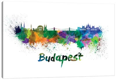 Budapest Skyline In Watercolor Canvas Art Print