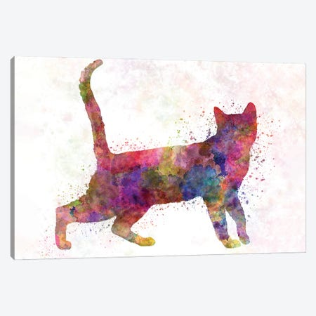 Bengali Cat In Watercolor Canvas Print #PUR1190} by Paul Rommer Canvas Artwork