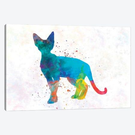 Devon Rex Cat In Watercolor Canvas Print #PUR1196} by Paul Rommer Art Print