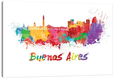 Buenos Aires Skyline In Watercolor Canvas Art Print