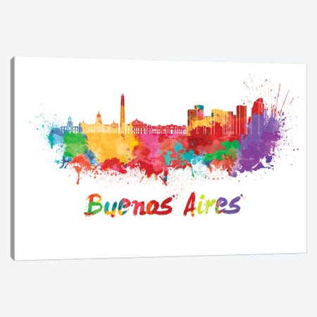 Buenos Aires Skyline In Watercolor 3-Piece Canvas #PUR119} by Paul Rommer Canvas Wall Art