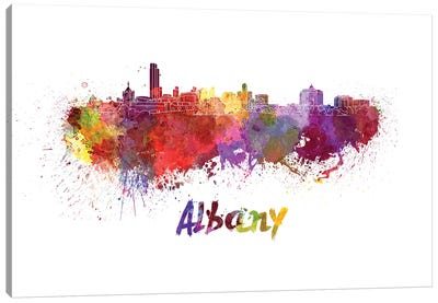 Albany Skyline In Watercolor Canvas Art Print