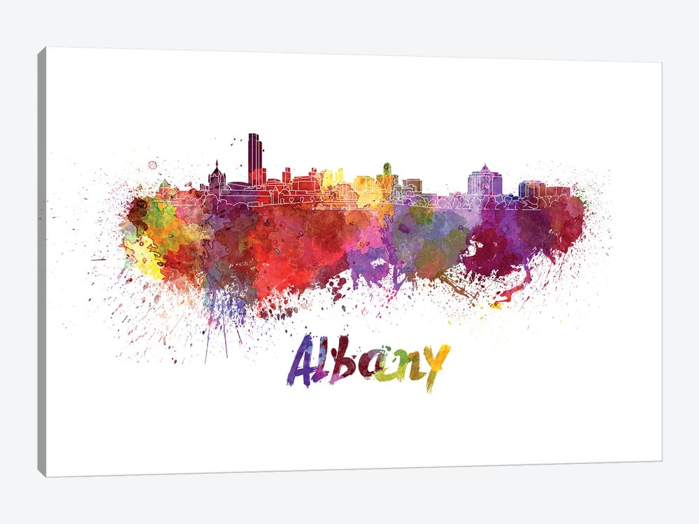 Albany Skyline In Watercolor by Paul Rommer 1-piece Canvas Wall Art
