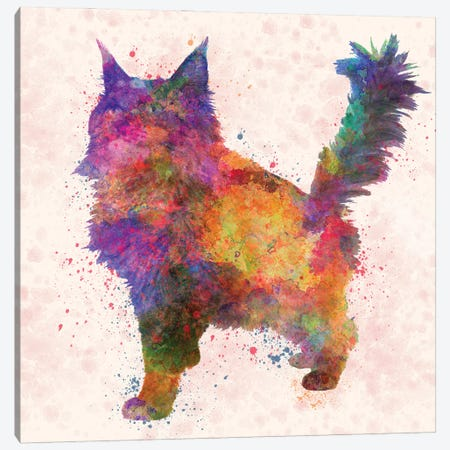 Maine Coon Cat In Watercolor Canvas Print #PUR1201} by Paul Rommer Canvas Art