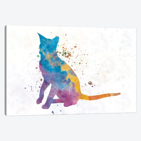 Oriental Cat In Watercolor Canvas Print #PUR1206} by Paul Rommer Canvas Print