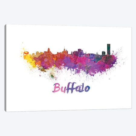 Buffalo Skyline In Watercolor Canvas Print #PUR120} by Paul Rommer Art Print