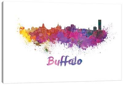 Buffalo Skyline In Watercolor Canvas Art Print