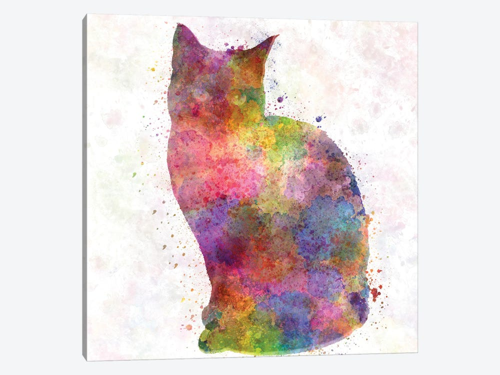 Siamese Cat In Watercolor by Paul Rommer 1-piece Canvas Art