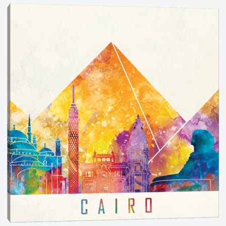 Cairo Landmarks Watercolor Poster 3-Piece Canvas #PUR121} by Paul Rommer Canvas Art Print