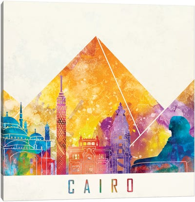 Cairo Landmarks Watercolor Poster Canvas Art Print