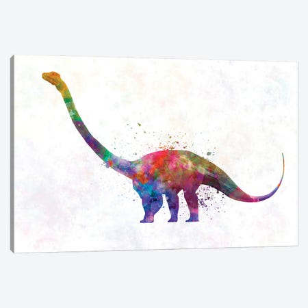 Barosaurus In Watercolor Canvas Print #PUR1229} by Paul Rommer Canvas Wall Art