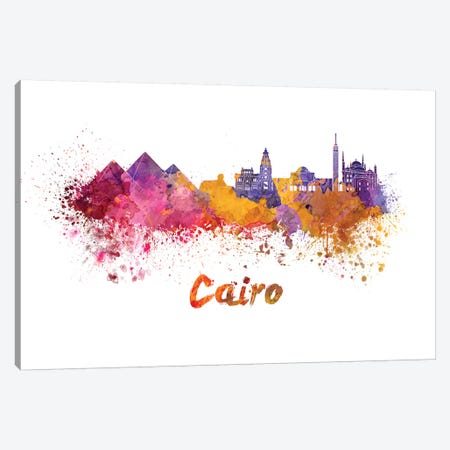 Cairo Skyline In Watercolor 3-Piece Canvas #PUR122} by Paul Rommer Canvas Art Print