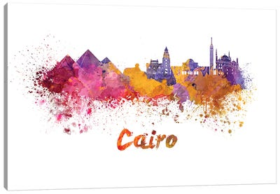 Cairo Skyline In Watercolor Canvas Art Print
