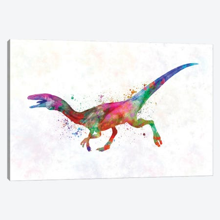 Compsognathus In Watercolor Canvas Print #PUR1232} by Paul Rommer Canvas Art Print