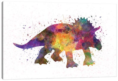 Triceratops In Watercolor Canvas Art Print