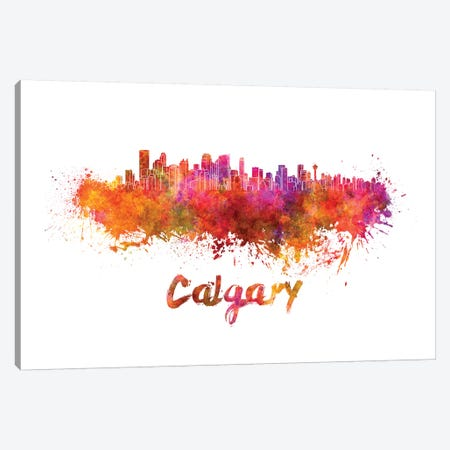Calgary Skyline In Watercolor Canvas Print #PUR124} by Paul Rommer Canvas Artwork