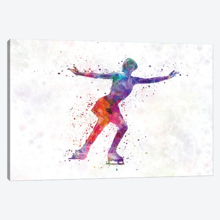 Figure Skating In Watercolor I Canvas Print #PUR1251} by Paul Rommer Canvas Print