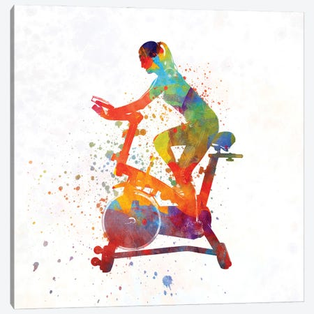 Woman Riding An Exercise Spin Bike In The Gym Canvas Print #PUR1254} by Paul Rommer Canvas Artwork