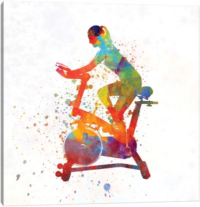 Woman Riding An Exercise Spin Bike In The Gym Canvas Art Print