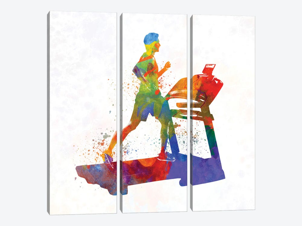 Male Running Treadmill by Paul Rommer 3-piece Canvas Print