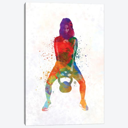 Crossfit Fitness Exercise Woman Lifting Kettlebell During Strength Training Exercising Canvas Print #PUR1256} by Paul Rommer Canvas Wall Art