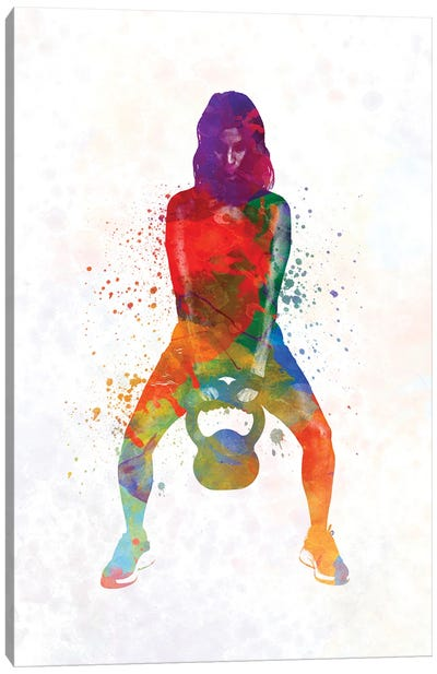 Crossfit Fitness Exercise Woman Lifting Kettlebell During Strength Training Exercising Canvas Art Print