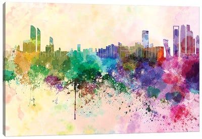 Abu Dhabi Skyline In Watercolor Background Canvas Art Print