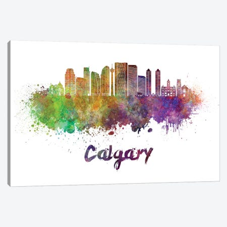 Calgary Skyline In Watercolor II Canvas Print #PUR125} by Paul Rommer Canvas Artwork