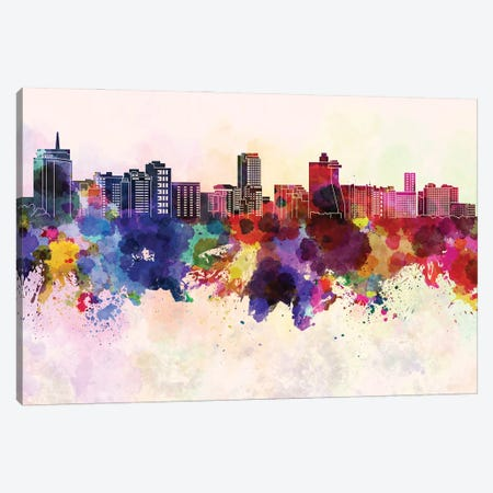 Acapulco Skyline In Watercolor Background Canvas Print #PUR1260} by Paul Rommer Canvas Wall Art