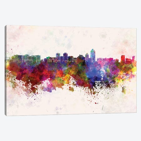 Albuquerque Skyline In Watercolor Background Canvas Print #PUR1266} by Paul Rommer Canvas Print