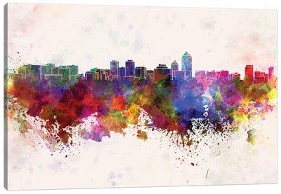 Albuquerque Skyline In Watercolor Background Canvas Art Print