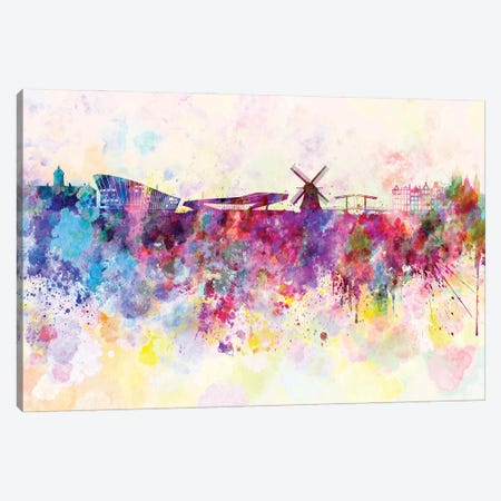 Amsterdam Skyline In Watercolor Background Canvas Print #PUR1273} by Paul Rommer Canvas Art Print
