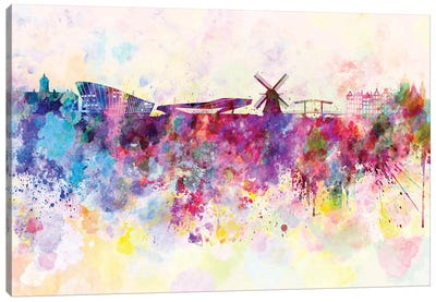 Amsterdam Skyline In Watercolor Background Canvas Art Print