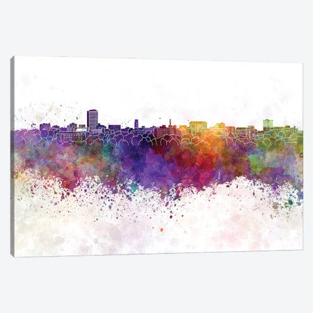 Ann Arbor Skyline In Watercolor Background Canvas Print #PUR1279} by Paul Rommer Canvas Art Print