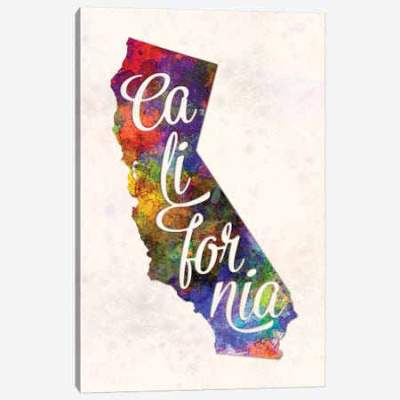 California US State In Watercolor Text Cut Out Canvas Print #PUR127} by Paul Rommer Canvas Wall Art