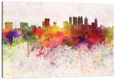 Atlanta Skyline In Watercolor Background Canvas Art Print
