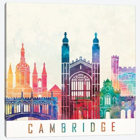 Cambridge Landmarks Watercolor Poster Canvas Print #PUR128} by Paul Rommer Canvas Print