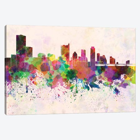 Austin Skyline In Watercolor Background Canvas Print #PUR1291} by Paul Rommer Canvas Print