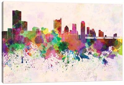 Austin Skyline In Watercolor Background Canvas Art Print