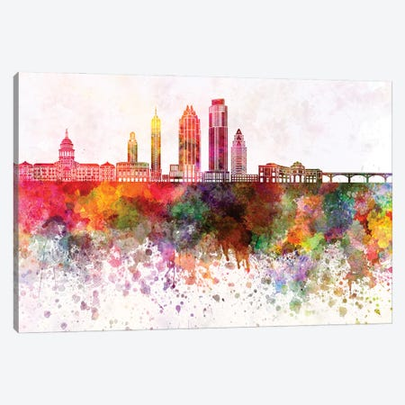Austin Skyline In Watercolor Background II Canvas Print #PUR1292} by Paul Rommer Canvas Print