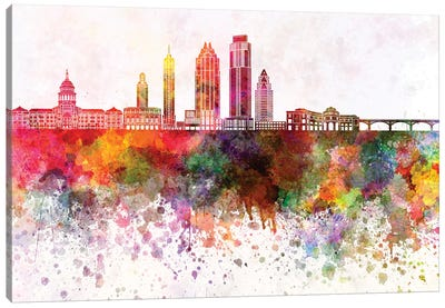 Austin Skyline In Watercolor Background II Canvas Art Print