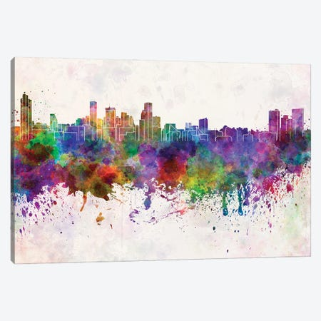 Baltimore Skyline In Watercolor Background Canvas Print #PUR1295} by Paul Rommer Canvas Artwork