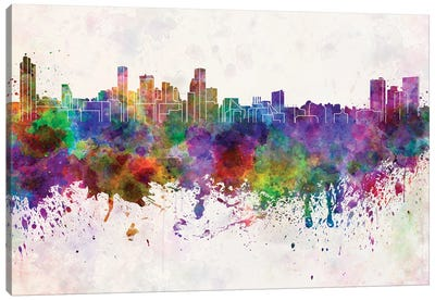 Baltimore Skyline In Watercolor Background Canvas Art Print