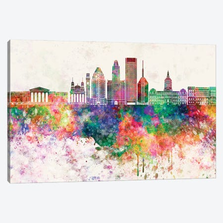 Baltimore V2 Skyline In Watercolor Background Canvas Print #PUR1296} by Paul Rommer Canvas Wall Art