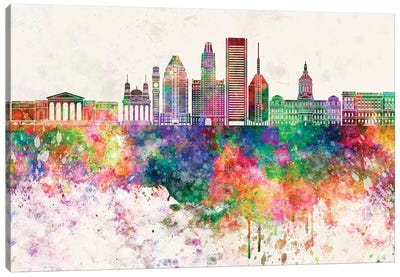 Baltimore V2 Skyline In Watercolor Background Canvas Art Print
