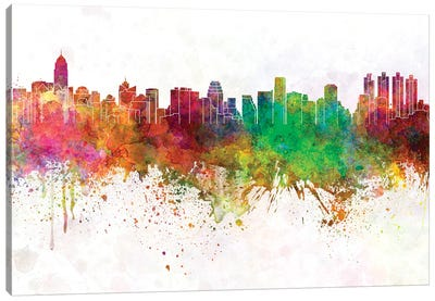 Bangkok Skyline In Watercolor Background Canvas Art Print