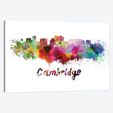Cambridge Ma Skyline In Watercolor Canvas Print #PUR129} by Paul Rommer Art Print